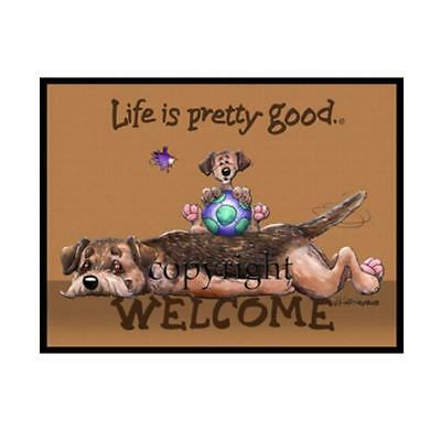 Border Terrier Dog Breed Life Is Good Cartoon Artist Doormat Floor Door Mat Rug