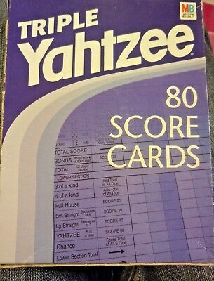 Vintage Deluxe Triple Yahtzee Score Cards from 1970s, sealed Original Box by MB