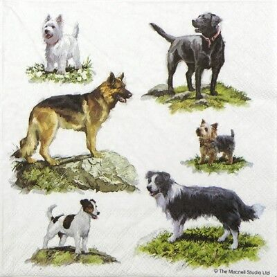 4x Paper Napkins for Decoupage Decopatch Craft Dogs