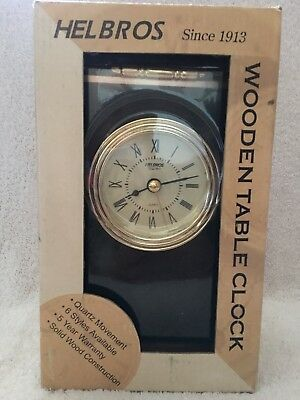 Helbros Wood Wooden Mantle Table Clock New In Box.