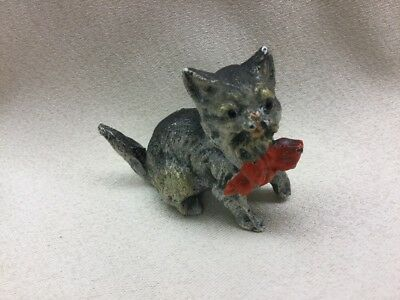 Miniature Antique Austrian Vienna Cold Painted Bronze/ Spelter  Cat