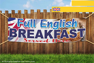 Full English Breakfast Served Here Food Business Heavy Duty PVC Banner Sign 2697