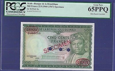 Gem Uncirculated 500 Francs 1960 Specimen Banknote From Mali !!! Huge Value !!!!
