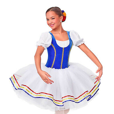 NEW~CURTAIN CALL COSTUMES 'Peasant Dance' E1418 CME Child's Medium Blue dress SS