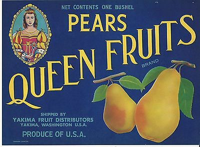 Yakima Washington State Perry/'s Pears Pear Fruit Crate Label Art Print