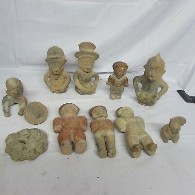 Lot of 11 Ancient Clay figures / Pieces varying sizes and shapes (G3)