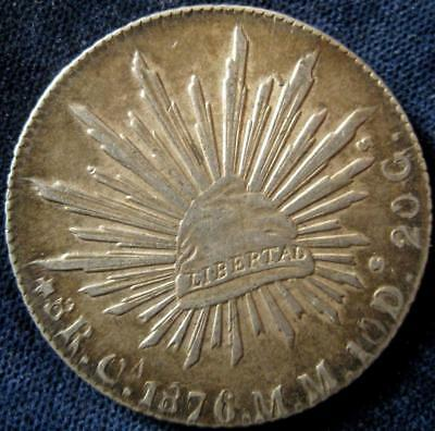Mexico 8 Reales 1876 CaMM  XF-AU  #156