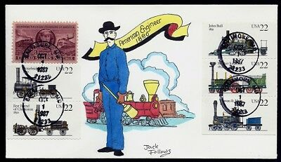 JACK FOLLOWS Hand Painted OAK :1987 Steam Locomotives w/all 5 Stamps