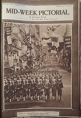 Antique bound NY Time's Mid Week Pictorial entire year 1918 WWI, Irish, maps