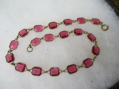 """Vintage Antique Art Deco Red Glass Brass Frame Link 14"""" Choker Chain NECKLACE"""