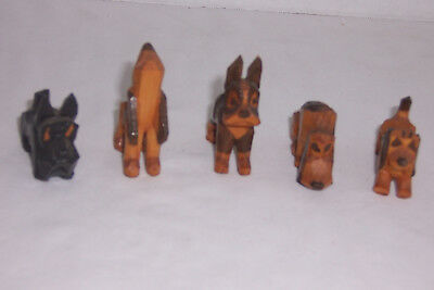Vintage Folk Art hand carved wood dogs