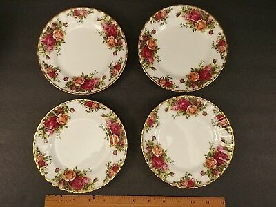 "Royal Albert Set of 4 Old Country Roses 6-1/4"" Bread Butter Plates Bone China"