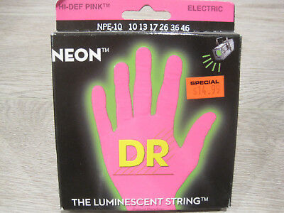 DR NPE-10 Hi-Def Pink Neon 10-46 Luminescent Glowing Electric Guitar Strings
