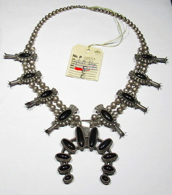 LARGE Old 40s Signed Navajo 925 Silver RARE Black Coral Squash Blossom Necklace