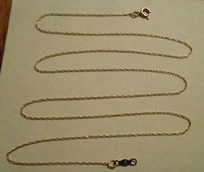 """Estate Solid 10K Yellow Gold Rope Chain Necklace Scrap 10KT 417 18"""" Thin Twist"""