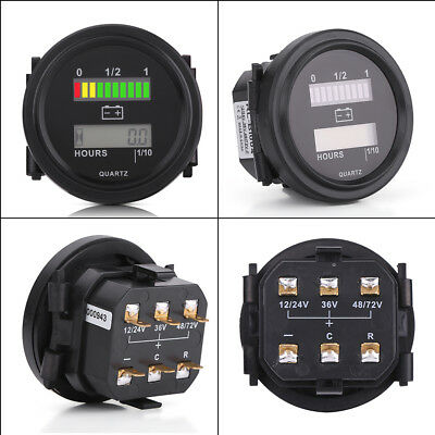 12/24/36/48/72V LED Battery Indicator Gauge Hour Meter for Golf Carts Auto RV BD