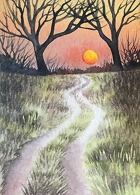 ACEO Original Miniature Watercolor Sunset Landscape by Elena Mezhibovsky