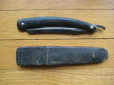 Antique Wade&Butcher Straight Razor With Case. Wood Handle, HOLLOW GROUND Blade