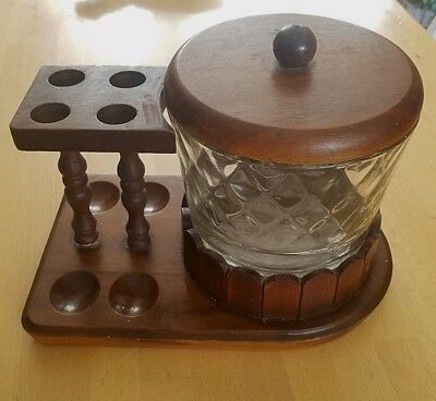 Vintage Wood Pipe Stand and Glass Humidor