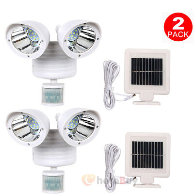 2x Motion Sensor Light Dual Head Security Floodlight 22 LED Outdoor Solar Power
