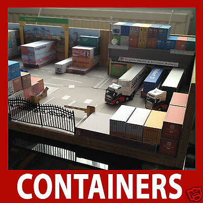 Z Scale 1:220 Rail Freight Container Model Card Kits Mixed Set x 12 Random