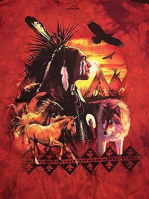 Indian Native American T Shirt The Mountain Horse Wolves Wolf Tee XL