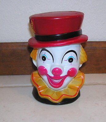 Vintage Hong Kong Clown Head Piggy Bank with Yellow Collar