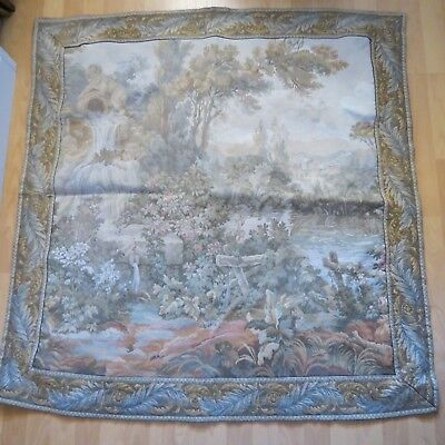 Gorgeous large vintage woven tapestry featuring cherubs at a fountain