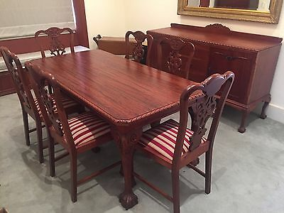 Handmade french rosewood claw-foot dining suite