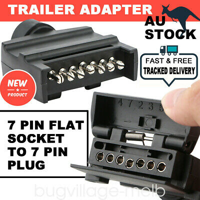 7 Pin Flat Trailer Plug Male & Female Socket Set Caravan Boat Adaptor Connector