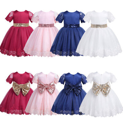 Baby Girls Tutu Dress Sequined Bowknot Princess Toddler Wedding Birthday Party
