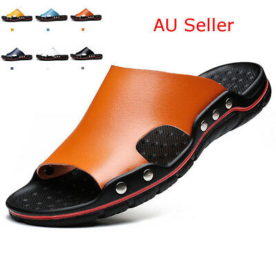 AU Mens Summer Beach Casual Leather Sandals Shoes Swimming Anti-slip Slippers