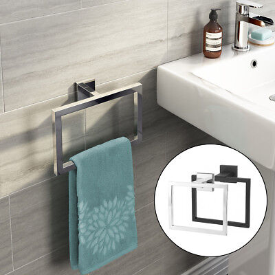 TAPCET Chrome Modern Bathroom Wall Mounted Accessories Square Towel Ring Holder