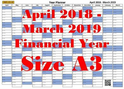 a3 blue financial year planner 1st apr 2018 31st mar 2019 wall calendar chart