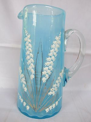 Lovely Antique Blue Vaseline Glass Jug with Lily of the Valley Decoration