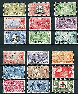 Bermuda QEII 1953-62 set of 18 SG135/50 MNH