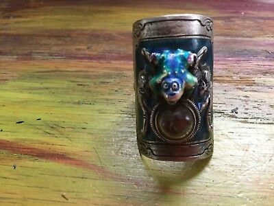 Antique Chinese sterling Enamel Frog Compass ring RARE Big Wide Whimsical