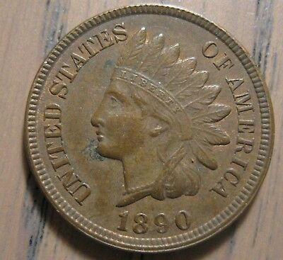 1890 Indian Head Cent RB Choice AU/Unc Deeply Struck Nearly Hit Free Surfaces