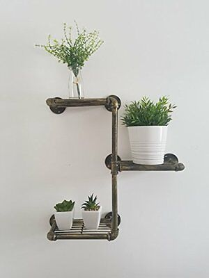 Wall Mounted Industrial Piping Vintage Retro Style Metal 3 Tier Shelf Shelving