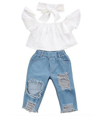 Baby Kids Girls Off Shoulder Crop Tops+Hole Denim Pant Jean Headband Clothes Set