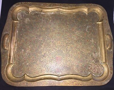 Ornate Antique Rectangular Scalloped Floral Bronze Engraved Tray