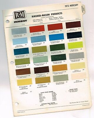 1972 Mercury COLOR CHIP SAMPLE CHART Brochure: COUGAR/MONTEGO/MARQUIS/COMET/