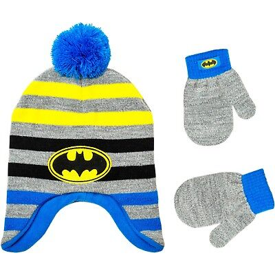NEW NWT Boys Toddler 2T-5T Batman Hat and Mittens Pom Pom Fleece Lined