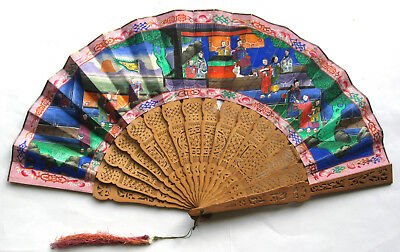 Antique Chinese Cantonese Export Sandalwood 1000 Faces Fan 清朝 道光帝 ca. 1840/1850