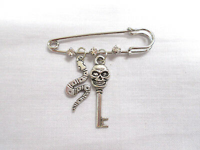 """2"""" PIN BROOCH w 3 CRYSTALS with A HUMAN SKULL TOPPER KEY & SNAKE DOUBLE CHARMS"""