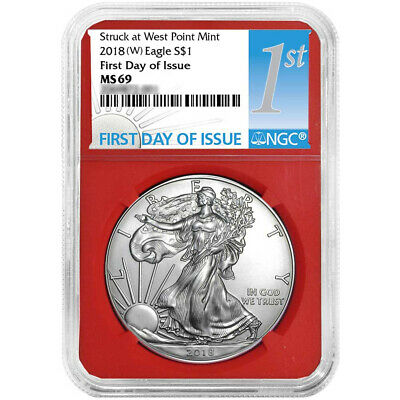 2018 (W) $1 American Silver Eagle NGC MS69 FDI First Label Red Core