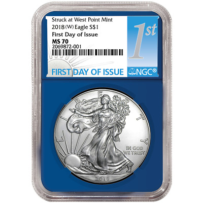 2018 (W) $1 American Silver Eagle NGC MS70 FDI First Label Blue Core
