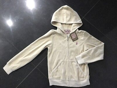 NWT Juicy Couture New & Genuine Girls Age 8 Beige Cotton Hoody With Juicy Logo