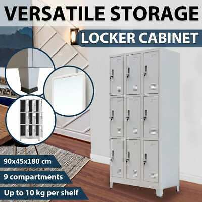 vidaXL 9 Door Steel Locker Cabinet Office School Storage Gym Sport Changing Room