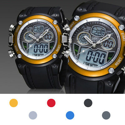 OHSEN Waterproof Business Men Rubber Strap Quartz Analog-Digital Watch Resin EB